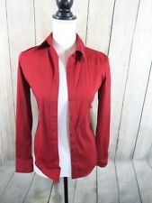 THEORY PETITE LARISSA STYLE LONG SLEEVE RED BLOUSE