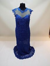 Women long blue lace party dress wedding gown size 10-12 M-L w train fre sh