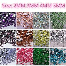 1000Pcs Crystal Flat Back Rhinestones Gems Diamante Bead Nail Art Crafts 2-5MM