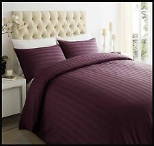Hotel 250tc 100 Egyptian Cotton Satin Stripe Duvet Quilt Cover Bedding Set Plum King