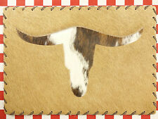 """ONE 17""""x12"""" COWHIDE LEATHER PLATE TABLE MAT HAIR ON LEATHER LONG HORN (R)"""