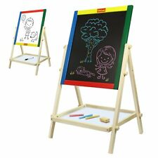Double Sided Wooden Kids Easel Whiteboard & Chalkboard With Built-in Shelf