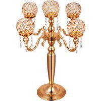 5 Arms Candelabra Wedding Candle Holder Crystal Vintage Gold Party Decoration