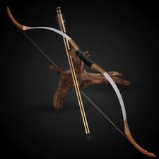 """25lbs 52"""" Archery Hunting White Leather Wood Recurve Bow Longbow Left Right Hand"""