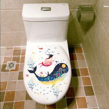 Cute Cartoon Sea Whale Pattern Bathroom Toilet Sticker Wall Sticker Home Decor