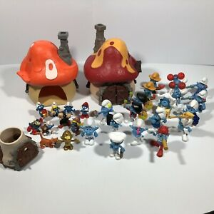 Huge Smurfs Lot Vintage & Modern 70s 80s Schleich Peyo Figures Mushroom Houses
