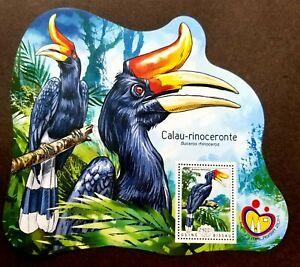 [SJ] Guinea Bissau Hornbills 2014 Bird (ms) MNH *Malaysia Expo '14 *odd *unusual