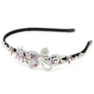 Elegant Bridal Wedding purple Crystal Rhinestones metal flowers headband