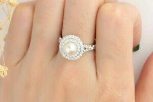 2.18 Ct Pearl & Sim Diamond Dual Halo 14k White Gold FN Set as Engagement Ring