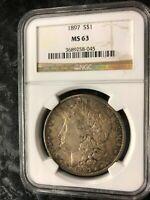 1897 NGC MS 63 Morgan Silver Dollar dark original toning