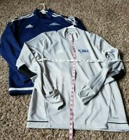 Adidas mens Long Sleeve1/4 ZIP Up NAVY BLUE & Gray Size L LARGE Sz Lot of 2
