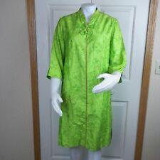 Vtg Evelyn Pearson Green Asian House Dress Robe Coat Medium Lounging  Apparel
