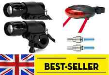 2 pcs front + rear laser + wheel valve bike lights - two flashing light lamp UK