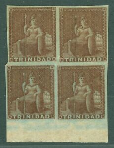 SG 8 Trinidad 1856. 1d brick red. A fine fresh mounted mint block of 4. Full...