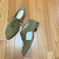 NIB Nine West NAMBERO Women's 6.5 Oxfords Lace up Loafer Shoes Green Casual