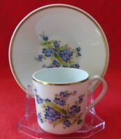 Limoges France SL Demitasse Cups & Saucers floral with Gold band