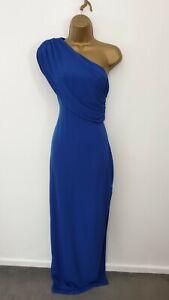 New Hedonia UK Size 10 Blue One Sleeve Side Split Long Maxi Party Evening Dress