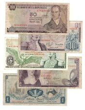 COLOMBIA SET: 1 2 5 10 50 Pesos Oro (1970-1980) VG-VF Banknotes Paper Money