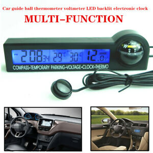 Auto Car Guide Ball Thermometer Voltmeter LED Backlight Display Electronic Clock