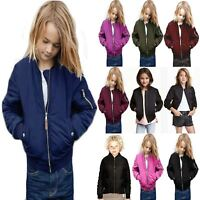 Boys Girls Kids MA1 Quilted Plain Front Button Pockets Bomber Zipped Up Jacket