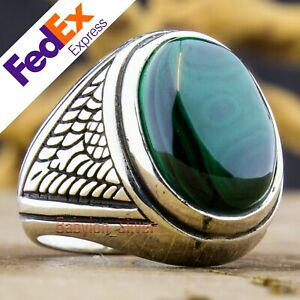 Natural Malachite Stone 925 Sterling Silver Turkish Handmade Men's Ring All Size