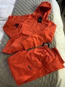 NWT NIKE ThermaFit XS SET Warmup Tracksuit Hoodie Jacket SweatPants Pants ORANGE