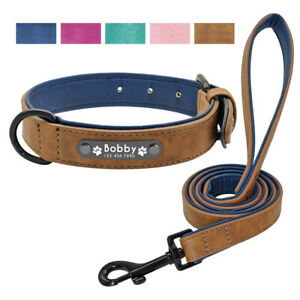 Leather Personalized Dog Collar and Leash Set Custom Engraved Pet ID Name Tag