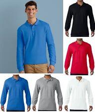 Mens Polo Shirt Long Sleeve Premium Cotton Top Collar 100% Cotton S-3XL NEW