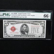 $5 1928 F Legal Tender Note PMG 66 EPQ, Fr # 1531 Wide I (IA Block) Clark/Snyder