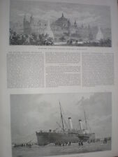 The Channel steam boat Invicta ashore on Calais sands 1888 old print