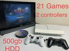 Sony PlayStation 3 PS3 Super Slim 500GB White CECH-4001C - 21 GAMES- bundle