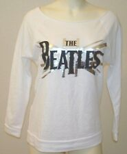 New Beatles Logo White Boatneck Fleece Top Size S Pullover 3/4 Sleeve Cotton USA