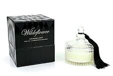 """D L & CO """"WILDEFLOWER"""" CLEAR FLUTED GLASS  PARLOUR CANDLE WITH LID, 7 OZ SOY"""