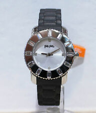Authentic Folli Follie WF5T114ZSS Watch Black Rubber Quartz For Women