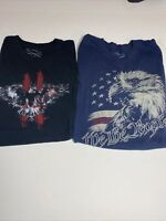 Lot Of 2 Mens Grunt Style Tshirts Patiotic Eagle Size Large