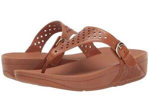 Fitflop Skinny Toe Post Lattice Wedge Women's Caramel Brown Sandal Sz 7
