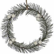 18cm Christmas Party Frosted Pine Branch Twig Rustic Wreath Door Wall Decoration