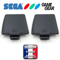x2 Caches piles GAME GEAR SEGA - Droit / Gauche - Cover Battery Console GG Noir