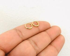 14K Real Gold Dainty Huggies Earrings Women/Men 8.5x9.1mm, Huggies Hoop Earrings