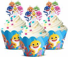 Cute Baby Shark Party Supplies – Cute Shark Cupcake Topper And Wrapper - Set O