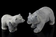 Bear Mother and Cub Marble Stone Figurine Sculpture Russian Art Miniature Statue