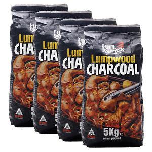 4 x Pack Fuel Express Lumpwood Charcoal BBQ Barbeque Easy Light Heat Coal Fuel
