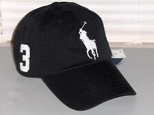 POLO RALPH LAUREN Big Pony Hat, Chino Sport Baseball Cap, Leather Strap, BLACK