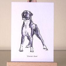 Musculaire et attentif boxer chien dessin miniaturisés pour un aceo art carte
