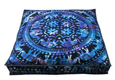 "35X35"" Large Square Floor Cushion Pillow Cover Tie Dye Elephant Mandala Covers"