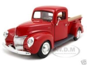 1940 FORD PICKUP TRUCK RED 1/24 DIECAST MODEL CAR BY MOTORMAX 73234