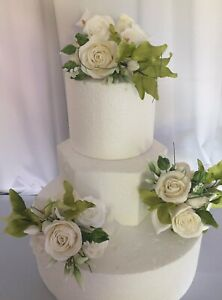 3 Piece Flower Paste  Cake Topper/Decoration With Roses/Cala Lilly