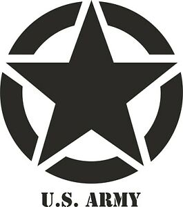 US American Army Star - vinyl sticker 540mm x 612 mm black gloss vinyl