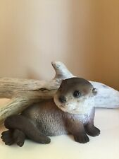 Baby Otter Figurine Animals Resin Statue New Ornament River New Laying Back