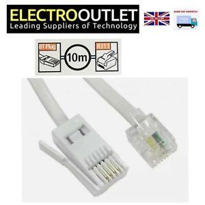 RJ11 to BT Plug Landline Phone Modem Connection Cable 3m 10m ADSL